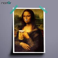 hd printed art canvas print poster monalisa drinking beer paintings wall decor canvas painting wall picture