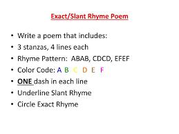 ppt exact slant rhyme poem powerpoint