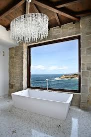 mediterranean style bathroom with ocean view design ancient surfaces