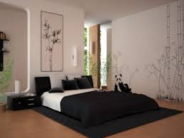 ... Home Decor, Japanese Inspired Bedroom Decorating Ideas For Young Adults  With Bamboo Wallpaper And Black ...