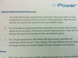 impower motor controller not working according to manual does that not suggest that in the wiring configuration previous in the th that the motor should run at high speed for two minutes then drop to low