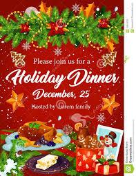 Holiday Dinner Invitation Template Christmas Dinner Invitation For Xmas Party Design Stock