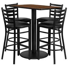 24 x 42 rectangular laminate table set with 4 ladder back metal bar stools 4 styles available