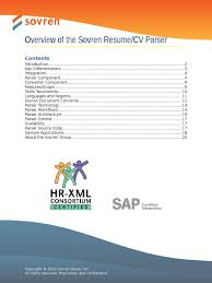 Sovren Resume Parser Overview Parsing Xml Schema