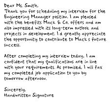 Thank You Letter After Interview Handwritten