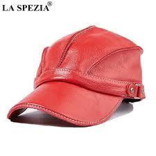 la spezia red baseball cap men genuine cow leather caps snapback hat male adjustable luxury brand