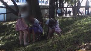 Spy peeing girls outdoors beer festival