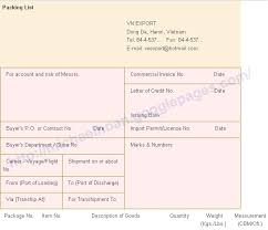 packing list sample form packing list vietnam import and export