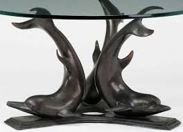 cast bronze triple dolphin coffee table with glass top in excellent condition for in chicago