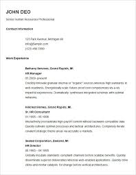 Basic Resume Template For Senior Hr Professional Cool Simple Resume