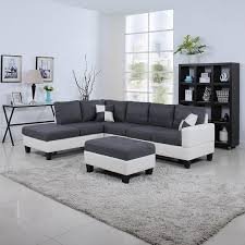 Amazon.com: Classic Two Tone Large Linen Fabric and Bonded Leather Living  Room Sectional Sofa (White / Dark Grey): Kitchen & Dining