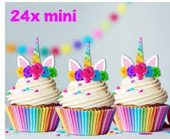 24x Mini Rainbow Unicorn Horn Flowers Edible Wafer Cupcake Toppers