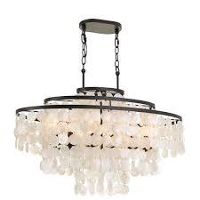 elight design capiz shell 36 inch six light bronze linear chandelier