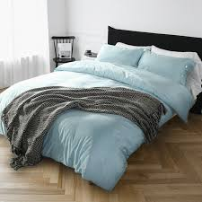 60s egyptian pure cotton solid color bedding set light blue duvet cover set europe bed sheet queen king size bed cover bedspread in bedding sets from home
