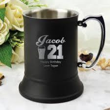 21st birthday black snless steel stein male design
