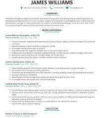preschool teacher resume sample com