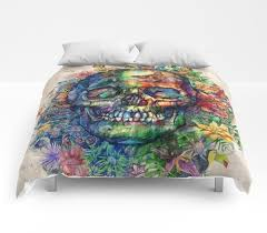 deep sea plus tropical flora on rainbow skull bedding