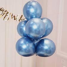 AULE <b>Blue</b> Metallic Chrome Latex Balloons <b>12 Inch 50 Pcs</b> Happy ...