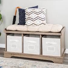 Driftwood Storage Bench with Totes & Cushion