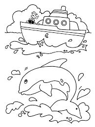 Kleurplaten Paradijs Kleurplaat Popeye Op Een Boot Ziet Een Dolfijn