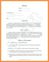 Construction Bid Form Bid Form Koziy Thelinebreaker Co
