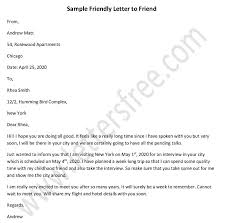 sle friendly letter to a friend