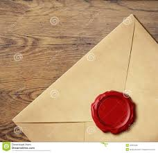 old letter envelope wax seal white