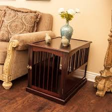 wooden dog crate furniture. Pet Crate End Table In Walnut Wooden Dog Furniture