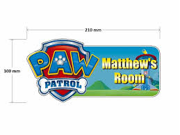 details about paw patrol shield door plaque personalised childrens bedroom sign boys girls