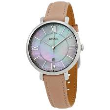 fossil women s jacqueline silver tone mop pink leather strap watch 36mm es4151