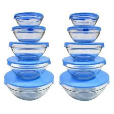 5 piece nesting glass bowl set with blue lids pack of 2 free on orders over 45 9318789