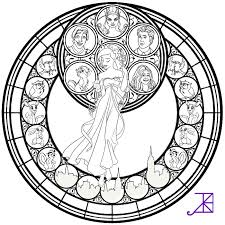Beauty And The Beast Stained Glass Window Coloring Page Coloring Home