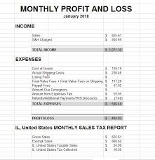Profit And Loss Statments Ebay Selling My Profit Loss Statement For January 2018 Live