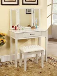 Small And Simple DIY Makeup Vanity Table Made From Wood Painted With White  Color With Drawer And Trifold Mirror Plus Stool With Fabric Cover For  Narrow ...