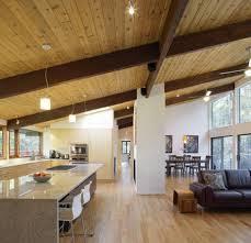 Sloped Ceiling Living Room Kitchen Design Kitchen Dining Room And Living Room Combined
