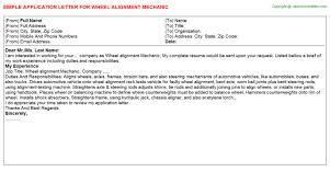 wheel alignment mechanic application letter