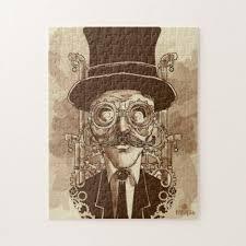 <b>Steampunk</b> Man <b>Hand Painted Vintage</b> Art Jigsaw Puzzle | Zazzle.com