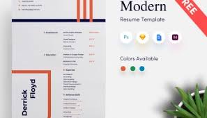 Modern Resume Template V-1 - Get Psd & Sketch Resume Templates