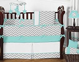 Amazon Sweet Jojo Designs 9 Piece Gray and Turquoise Chevron