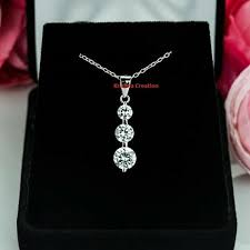 details about 2 20 ct off white moissanite 925 sterling silver 3 stone pendant chain free ship
