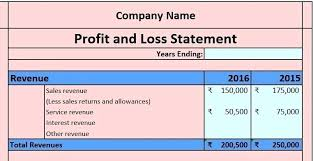 excel income statement excel formula for total revenue p l statement excel download profit