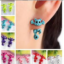 Women Single Earrings Creative Animal <b>Cartoon Cat Cute</b> Earring ...