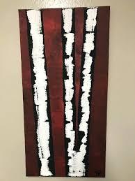 acrylic birch tree canvas painting diy two split red art wall acrylic birch tree canvas painting
