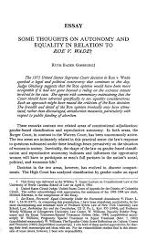 some thoughts on autonomy and equality in relation to roe v wade what is heinonline