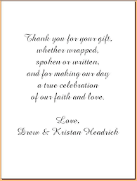 Wedding Thank You Samples Wedding Thank You Card Wording Ideas E What To Write In A Wedding