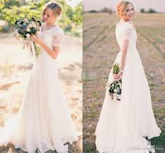 Discount Modest Wedding Dresses 2017 A Line Chiffon With Short Dresses For Garden Wedding