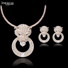 whole luxury rose gold leopard jewelry set women costume jewelry for party cz pendant necklace earrings party gift c21044