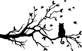 bird branch silhouette clip art. Beautiful Silhouette Clipart  Curly Tailed Cat On Tree Silhouette Svg Black And White And Bird Branch Clip Art C