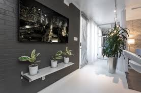 Hallway Wall Ideas Captivating Hallway Decoration With Rectangular Lcd Tv Mounted On