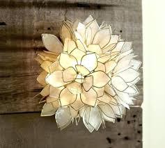 sconce flush mount light ceiling petal flower capiz fixture chandelier shell lighting